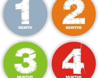 Baby Stickers - Baby Month Stickers - Baby Boy Monthly Stickers - Baby Shower Gift - Baby Bodysuit Labels