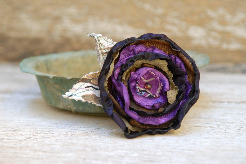 Purple Flower Brooch Pin Handmade Large Fabric Flower by ...