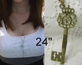 Victorian Style Antique Bronze Key - Regal - Renaissance Faire Pendant - Pirate Treasure Key - Castle Key - Medieval Key