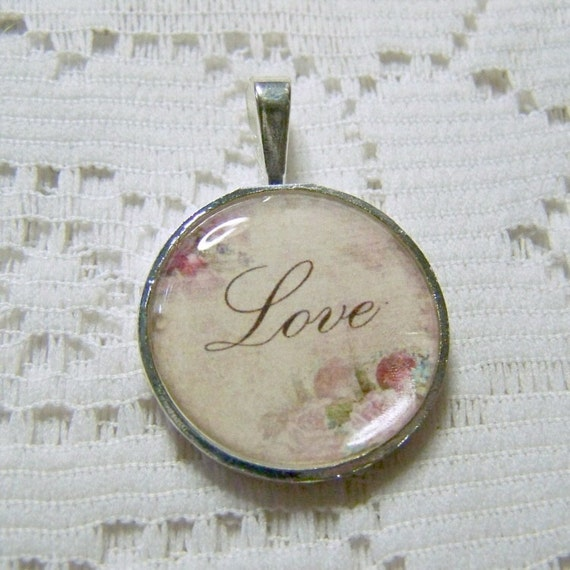 LOVE Pendant -  Round - Vintage Rose Illustration - Your choice of finish and chain