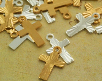 15 Gold or Silver Plated Cross Charms - 9mm X 7mm - With Matching Handcrafted Jump Rings - 100% Guarantee