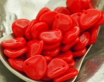 25 Opaque Red Czech Glass Rose Petal Beads 8mm X 7mm - 100% Guarantee