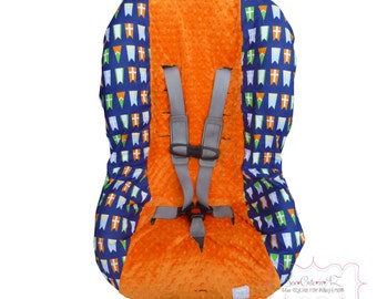 Toddler Carseat Cover Navy Bunting Flags with Orange