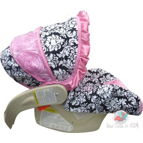 Car Seat Cover Damask with Bubblegum Rose - Infant to Toddler