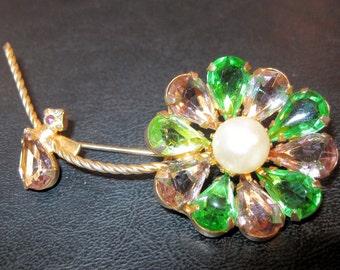 Vintage Pink & Green Rhinestone Flower Brooch Pear Shaped Jewelry FREE SHIPPING