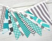 Bunting Banner, Photo Prop, Flags, Birthday, Baby Shower, Nursery Decor - Gray, Teal, Grey, Turquoise, Chevron, Dot, Argyle, Geometric
