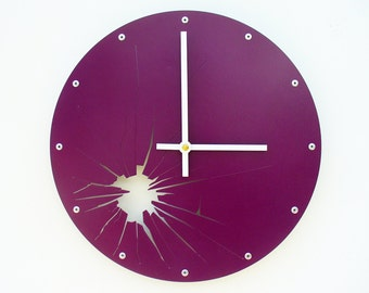 Shattered Metal, Medium, Unique Wall Clock, Modern Wall Clock, Steampunk Home Decor, Industrial Art, Cool Gift, Laser Cut Face, Purple
