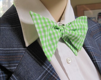 Lime Green Gingham Bow Tie