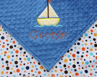 Personalized Baby Blanket with Sailboat Applique - Blue Boy Blanket