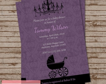 Purple and Black Baby Buggy Baby Shower Invitation