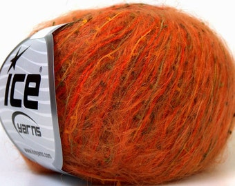 Pumpkin Patch Ice Orange Gold Olive Mohair & Tiny Flag Blend Yarn 27425
