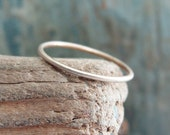 Tiny Solid 14k Gold Stacking Ring in Choice of Finish - Hammered, Brushed / Matte / Satin, or Smooth - 1mm Thin Gold Ring - Micro Halo Ring