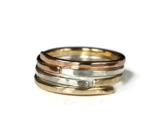 Three color hammered stacking ring set, 14k rose gold, 14k yellow gold and sterling silver. Made to order