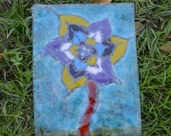 Fused Glass Art Panel, Frit Painting of a Flower Scene, Beautiful and Unique.