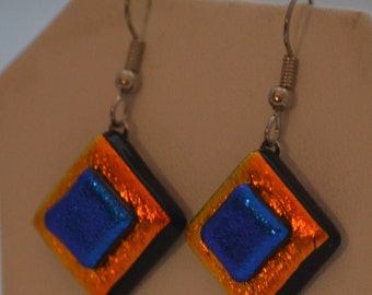 Fused Glass Necklace and Earrings Set, Orange and Blue Dichroic Glass, SRAJD