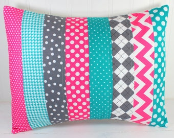 Nursery Cushion Cover, Patchwork Pillow Cover, Girl Nursery Decor, 12 x 16 Inches, Magenta Pink, Bright Pink, Teal Blue, Turquoise, Gray