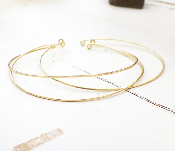 Thin gold bangles, Delicate 14k Gold Filled Pinch Bangle Bracelets, adjustable bangles, rustic delicate jewelry, wedding jewelry,