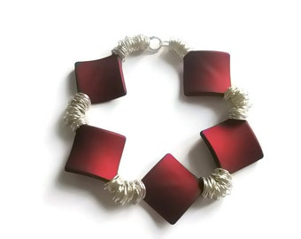 Bracelet Red and Silver High Fashion party Season Jewellery soft touch Diamond Beads