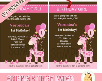 Pink Mommy and Baby Giraffe Customized Birthday Invitations Printable Digital EDITABLE TEXT Instant Download File