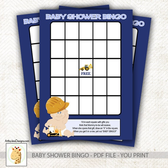 construction baby boy baby shower bingo game instant download print