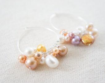 Pink shade pearls sterling silver hoop earrings, wedding, bridesmaid, Mother's Day, gift