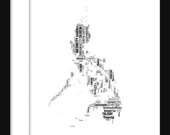 Philippines  Map Typography Map Poster Print Text Map
