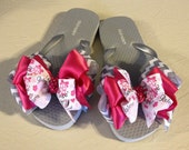 Girl's Size 12-13 Flip Flops with Gray & Pink Ballet Boutique Bows