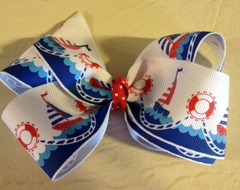 Sail Boat Boutique Hair Bow