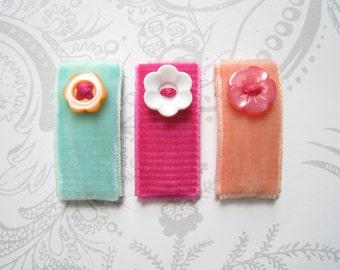 Baby Hair Clips -- Snap -- Hawaiian Tropical -- Newborn Infant -- Coral Mint Pink