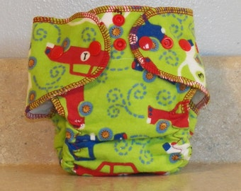 Fitted Preemie Newborn Cloth Diaper- 4 to 9 pounds- Vehicles- 16020