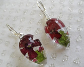 Red Verbena,Maroon Alyssum,Frosted Ferns Glass Teardrop Leverback Earrings-Symbolizes Enchantment,Worth Beyond Beauty-Gifts Under 25