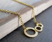 Gold Circle Necklace, Modern Necklace Geometric, Gold Pendant Three Circles - MODERN CLOUD