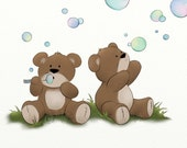 Teddy Bear Nursery Wall Print, 8 x 10 Childrens Wall Art, Boys or Girls Room Decor (281)