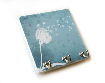 Blue Wall Décor, Blowing Dandelion Key Hook, Tile Key Holder Jewelry Organizer, Key Rack (20 A)