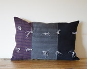 "Patchwork cushion folk craft textiles primitive purple grey black wool tweed 9 x 14"" rustic"