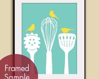 Birds on a Pasta Ladle, Spatula & Whisk (Series B) Art Print (Robins Egg and Sunshine) Kitchen Utensil Prints (Customizable Colors)
