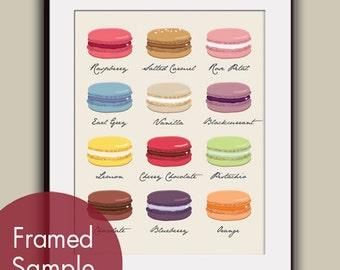 French Macaroons Cookie Chart (Version B) - Art Print (Featured in Assorted Colors) Paris Kitchen Art Print