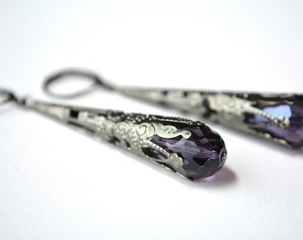Long Purple Earrings Warm Violet Dangle Earrings Victorian Filigree Cone Dark Silver Gunmetal Aged Edwardian Earrings