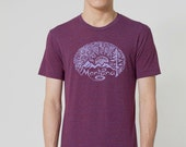 Montana Woodcut printed by Chill Clothing Co printed on American Apparel on tri cranberry