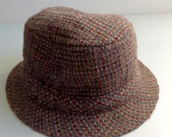 Vintage Irish Country hat. Man's hat  Size7.  Wool tweed.  Made in Ireland.