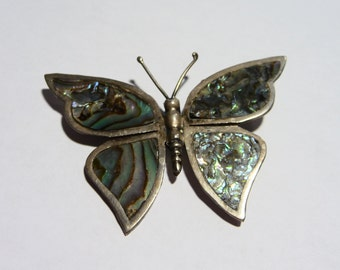 Large Sterling Silver and Abalone Butterfly Brooch Pin from Mexico on Etsy