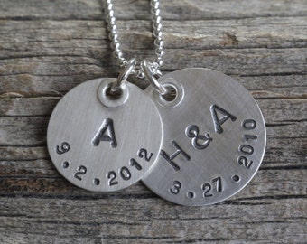 personalized jewelry, hand stamped sterling, riveted initial and date necklace, birthdate anniversary necklace