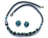 Russian Soviet Vintage Jewelry Turquoise and Hematite Necklace and Clip Earrings