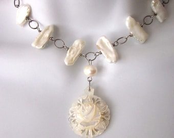 Carved Mother of Pearl Necklace with Fresh Water Pearls Bridal Jewelry