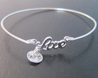 Personalized Couple Bracelet for Her, Couple Initial Bracelet, Romantic Jewelry, Personalized Christmas Gift for Her, Love Gift