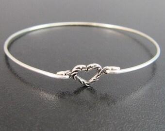 Tiny Heart Charm Bracelet, Silver Heart Bracelet, Heart Bangle, Tiny Bracelet, Tiny Bangle Bracelet, Small Bracelet, Small Bangle Bracelet