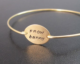 Phrase Bracelet, Gold, Handmade Jewelry, Beach Girl Jewelry, Beach Bunny, Snow Bunny, Ski Bunny, Surfer Girl Jewelry, Handmade Bracelet