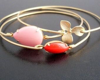 Summer Bouquet Bangle Set - Gold, Orchid Bracelet, Red, Pink, Flower Bracelet Set, Summer Bracelet Stack, Set of 3 Bracelets, Flower Jewelry