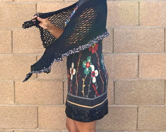 Little black wrap crochet shawl lace scarf boho bohemian