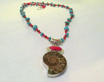 CLEARANCE PRICED - Turquoise, Red Stone and Fossil Beaded necklace
